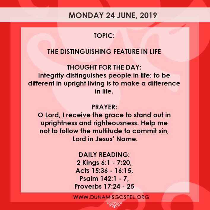Seeds of Destiny 24 June, Seeds of Destiny 24 June 2019 – The Distinguishing Feature In Life