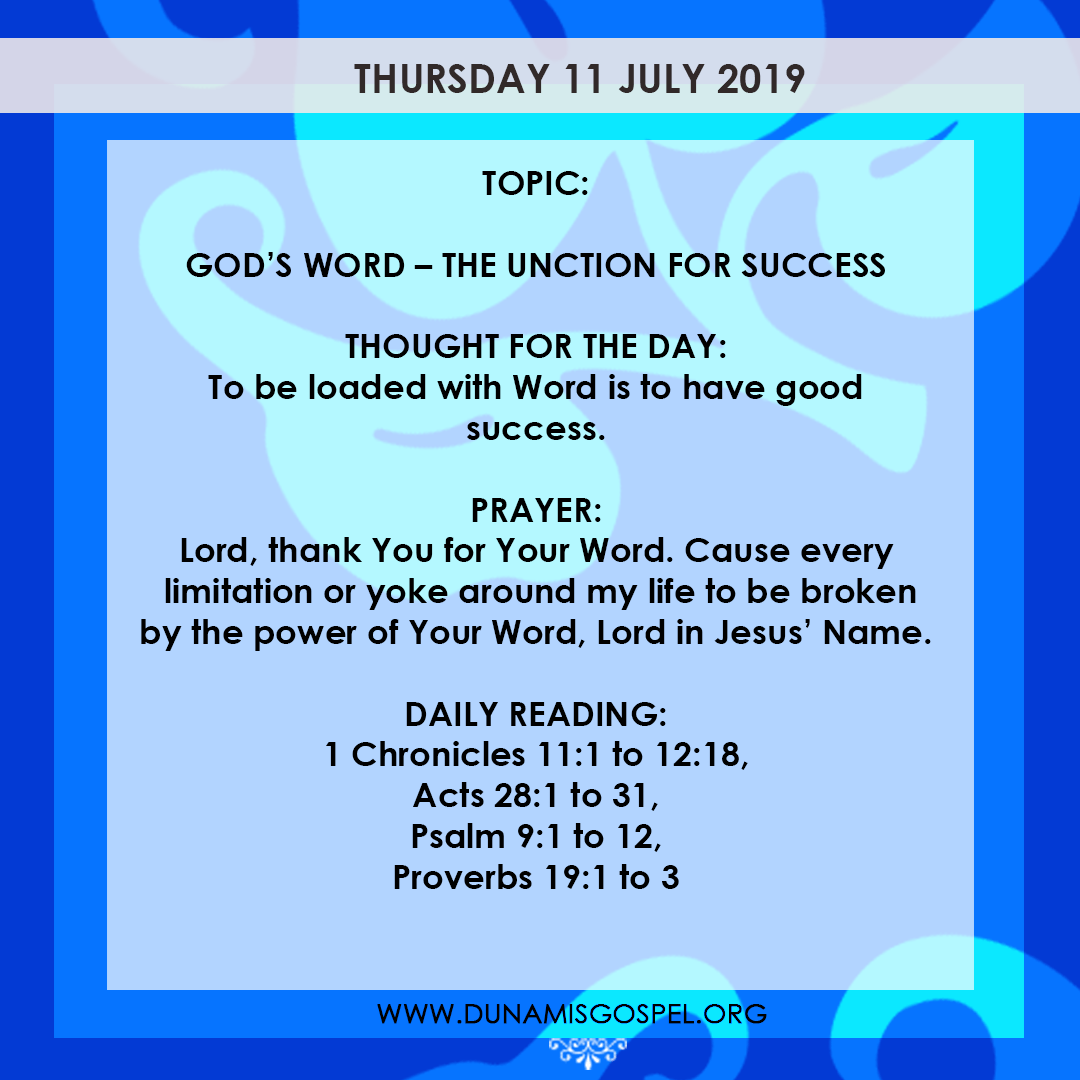 Seeds of Destiny 11 July 2019, Seeds of Destiny 11 July 2019 – God's Word: The Unction For Success
