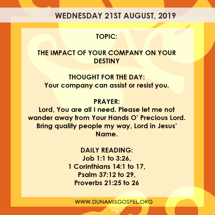 Seeds of Destiny 21 August 2019, Seeds of Destiny 21 August 2019 – The Impact of your company on your destiny