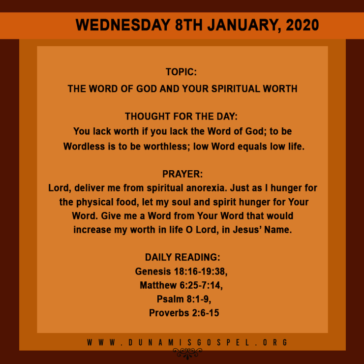 Seeds of Destiny 8 January 2020, Seeds of Destiny 8 January 2020 – The Word of God And Your Spiritual Worth