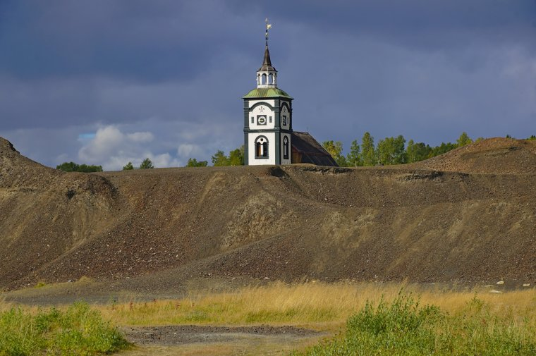 Copper Ore Slag Heap with Church in background, Roros, Trondelag County, Norway - ...behind every picture, there is a story...