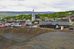 Copper Ore Slag Heap with Church in background, Roros, Trondelag County, Norway