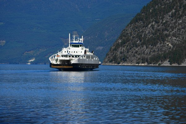 Ferry crossing the Sognefjord between Laerdal and Sogndal