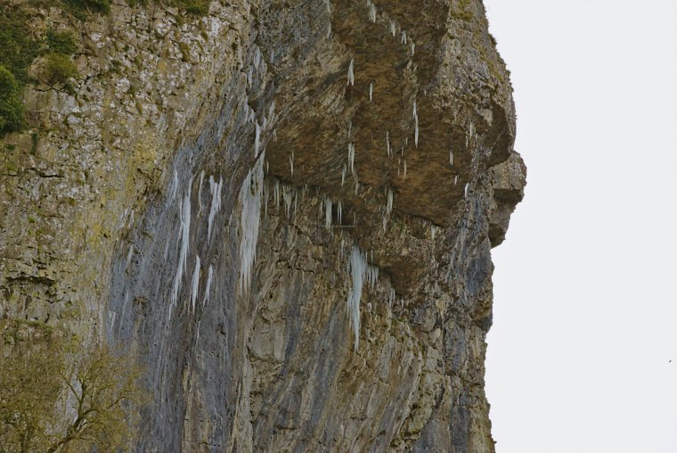 Icicles on the limestone cliff at Kilnsey Crag, Craven, North Yorkshire - ...behind every picture, there is a story...