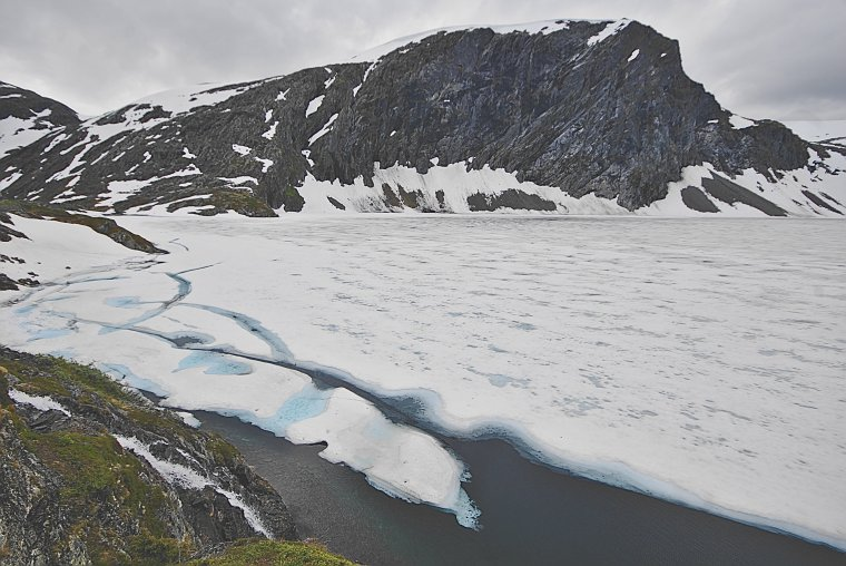 Lake Djupvatnet frozen at 1030m altitude, Møre og Romsdal, Norway - ...behind every picture, there is a story...
