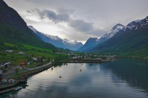 Nordfjord, and Olden with the Oldedalen Valley in the distance, Vestland County, Norway
