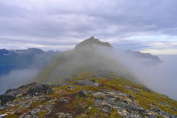Barden (659m) in cloud with Mefjord (left) and Oyfjord (right), Isle of Senja, Troms og Finnmark, Norway