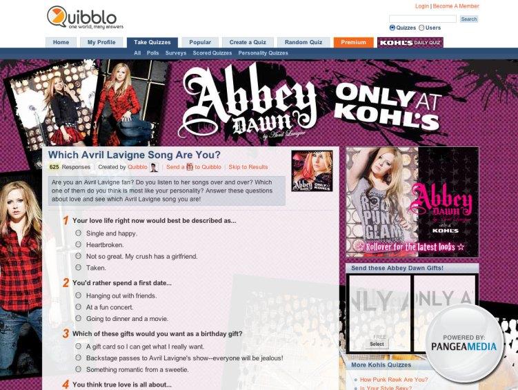 Quibblo Avril Lavigne Micro Site