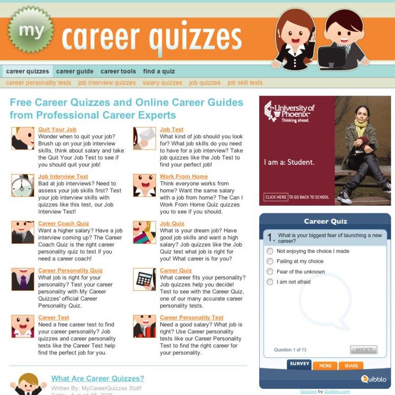 My Career Quizzes Website