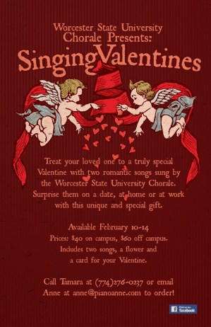 Worcester State University Singing Valentines Poster
