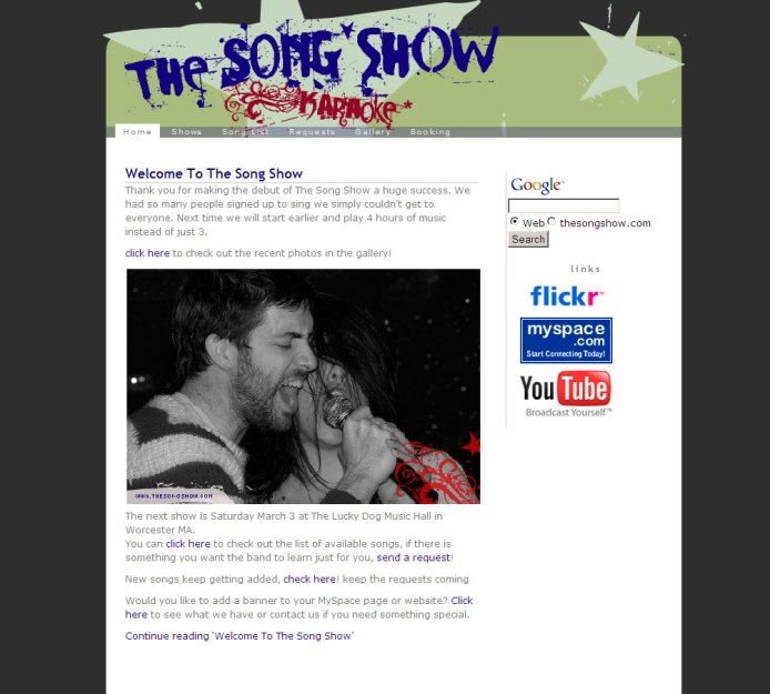 The Song Show Website Design and Logo