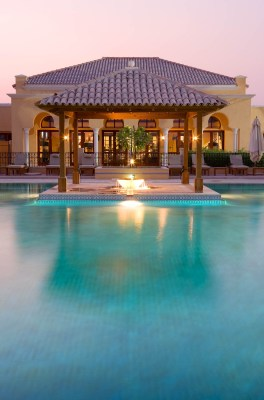 A architectural photograph of the pool area of Arabian Ranches Polo Club, Dubai