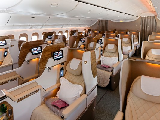 An interior photograph of the Emirates Business Class Cabin