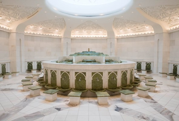 Interior Photography of the Abolution room of the Sheikh Zayed Mosque, Abu Dhabi