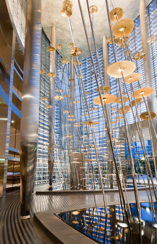 A photograph of the sculpture in the lobby of the Burj Khalifa, Dubai