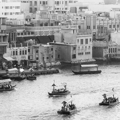 Abras carrying commuters across the Dubai Creek in Deria, Dubai