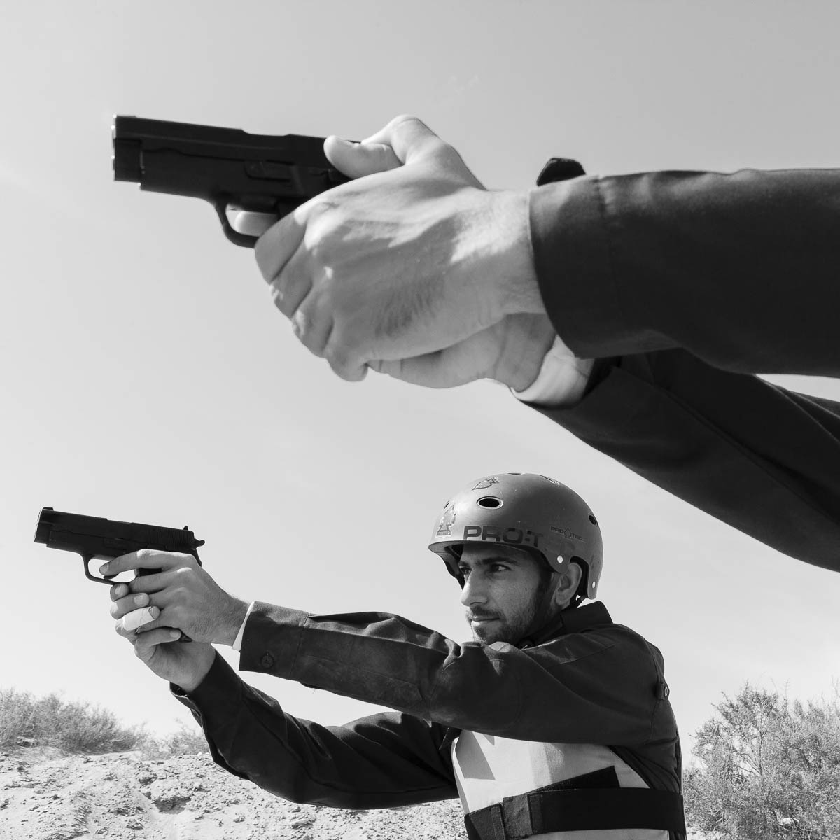 Police marksmen practice their shooting skills at a firing range in the UAE