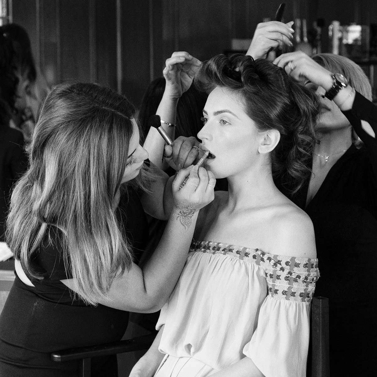 A model gets ready for a fashion show at the St Regis Hotel, Dubai