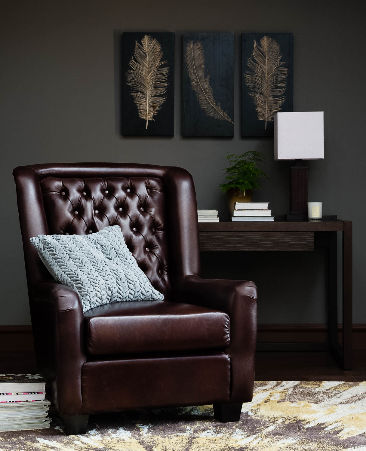 An interior vignette showing a leather armchair for Homecentre, Dubai