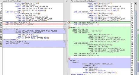 SQL Developer Compare Window