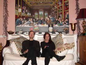 Ella Guru and Charles Thomson in front of 'The Last Supper'