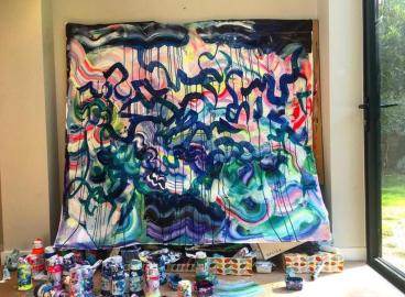 Emma Hill: 'Graffiti Summer' work in progress