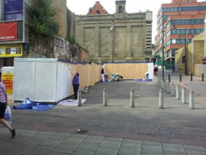 Preparing for the mural: Chatham High Street