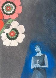 Sarah Sparkes: 101 GHost Stories 16 - 'Licht Und Blindheit' Gouache on cotton rag paper, A6 size, 2021