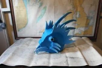 Blue Porcupine Headdress, Sarah Sparkes, mixed media, 2020