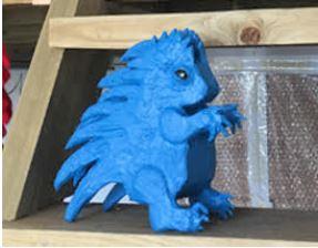 Sarah Sparkes: Blue Porcupine 1, mixed media scupture, 2021