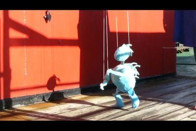 Sarah Sparkes: Blue Porcupine puppet, 2020