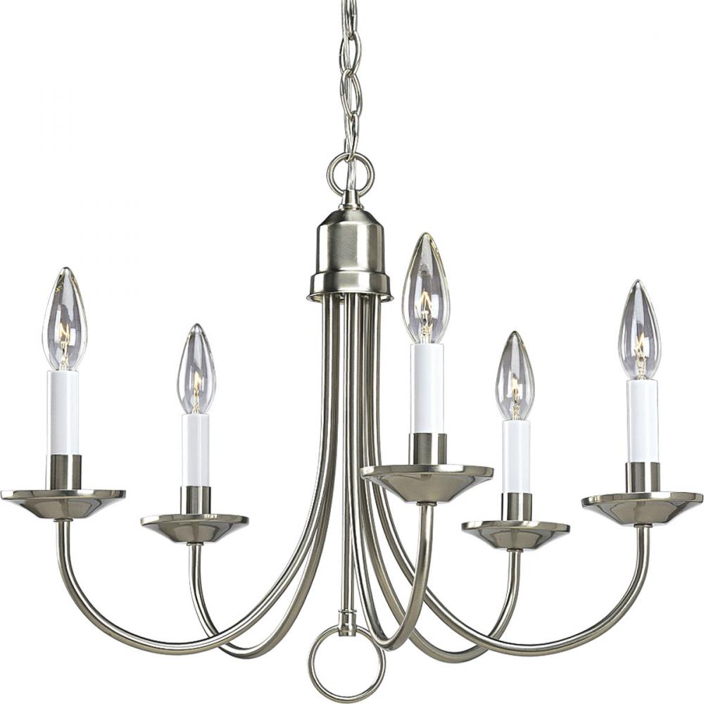 Progress Lighting P4008-09 Five Light Chandelier, Brushed