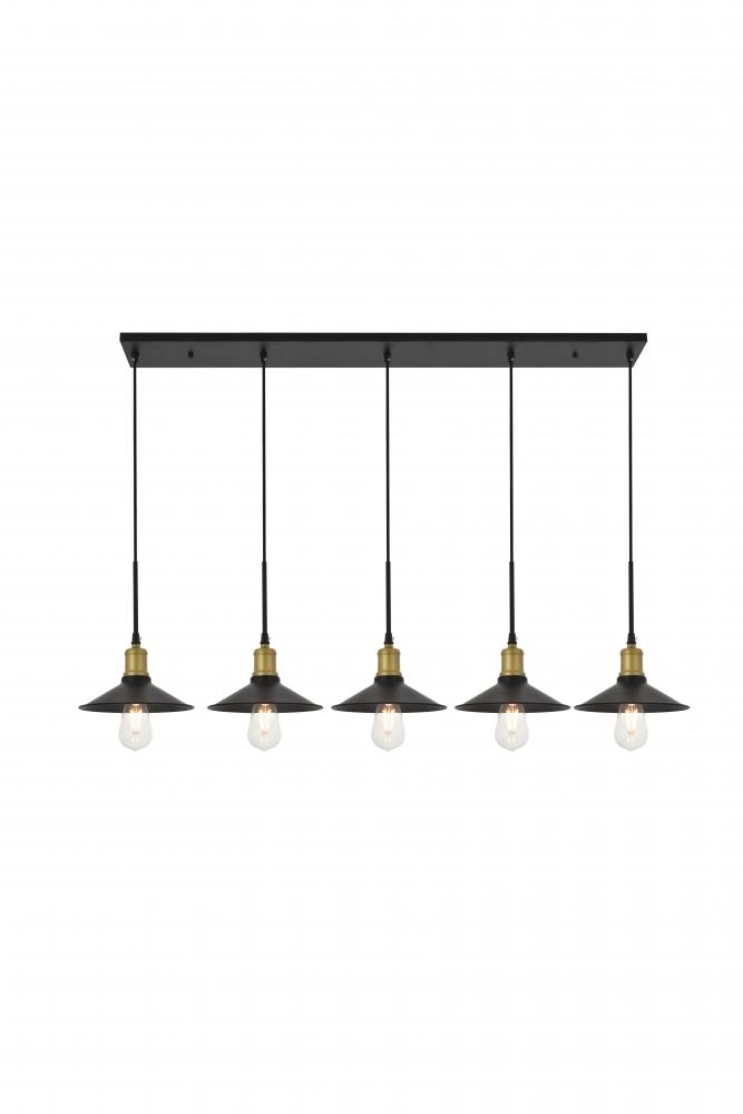 Elegant LD4033D49BRB Etude 5 Light Brass And Black Pendant