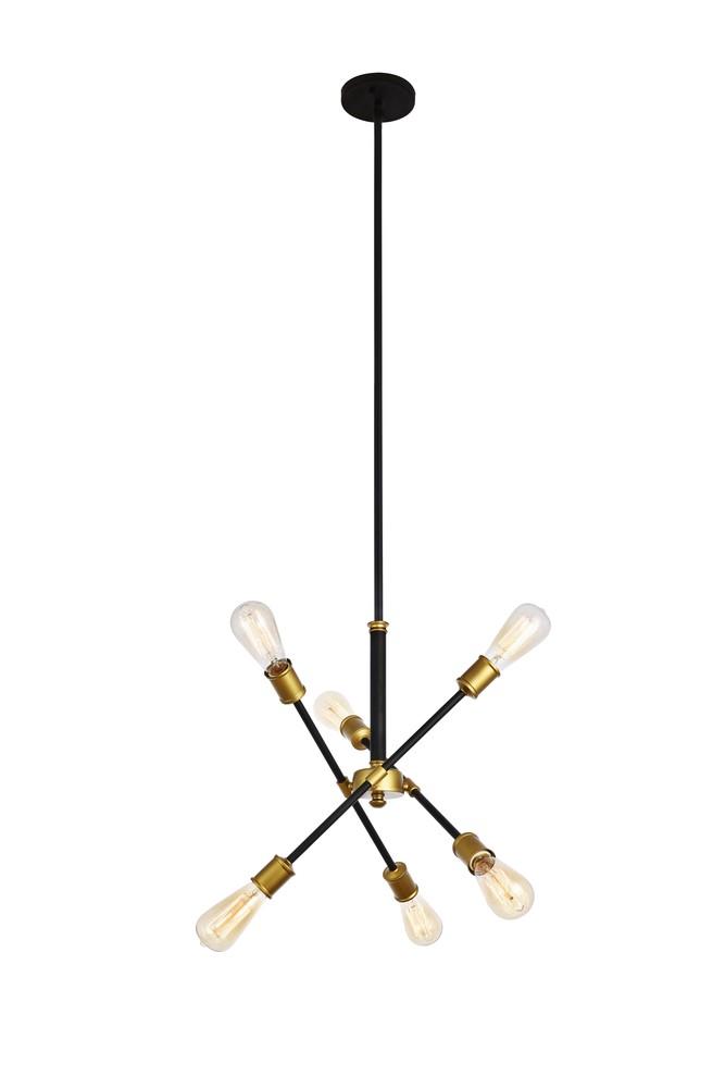 Elegant LD8015D18BK Axel 6 Lights Black Pendant