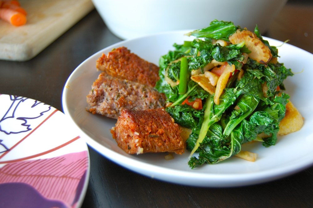 Crispy Polenta with Garlic Scapes and Sauteed Kale (2/2)