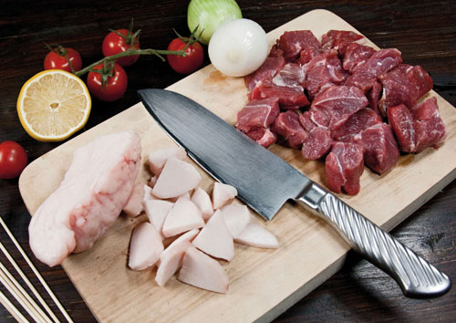 нарезка мяса и сала для шашлыка в духовке
