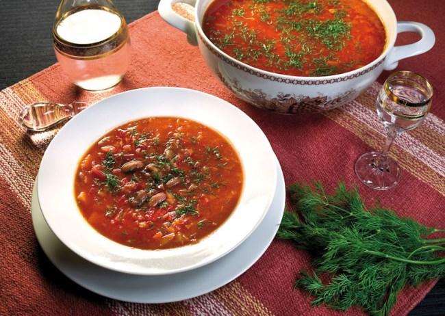 подача и сервировка вегетарианского борща, борща без мяса