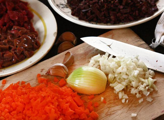 нарезка овощей для карчерато - густого итальянского супа