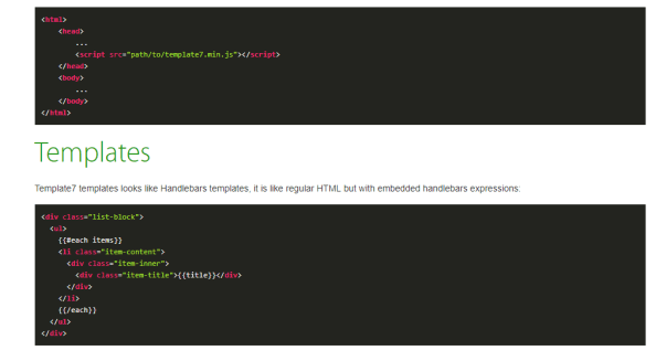 template 7 JavaScript template engine