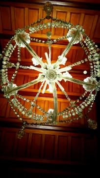 Looking up the only original gas powered chandelier found in the castle.