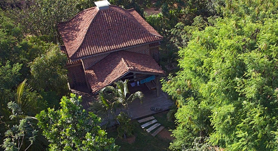 Aerial picture of dome house at Dune Eco Village and Spa