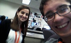 A less iconic, but still significant picture of us working together (she sat beside me in the computer lab).