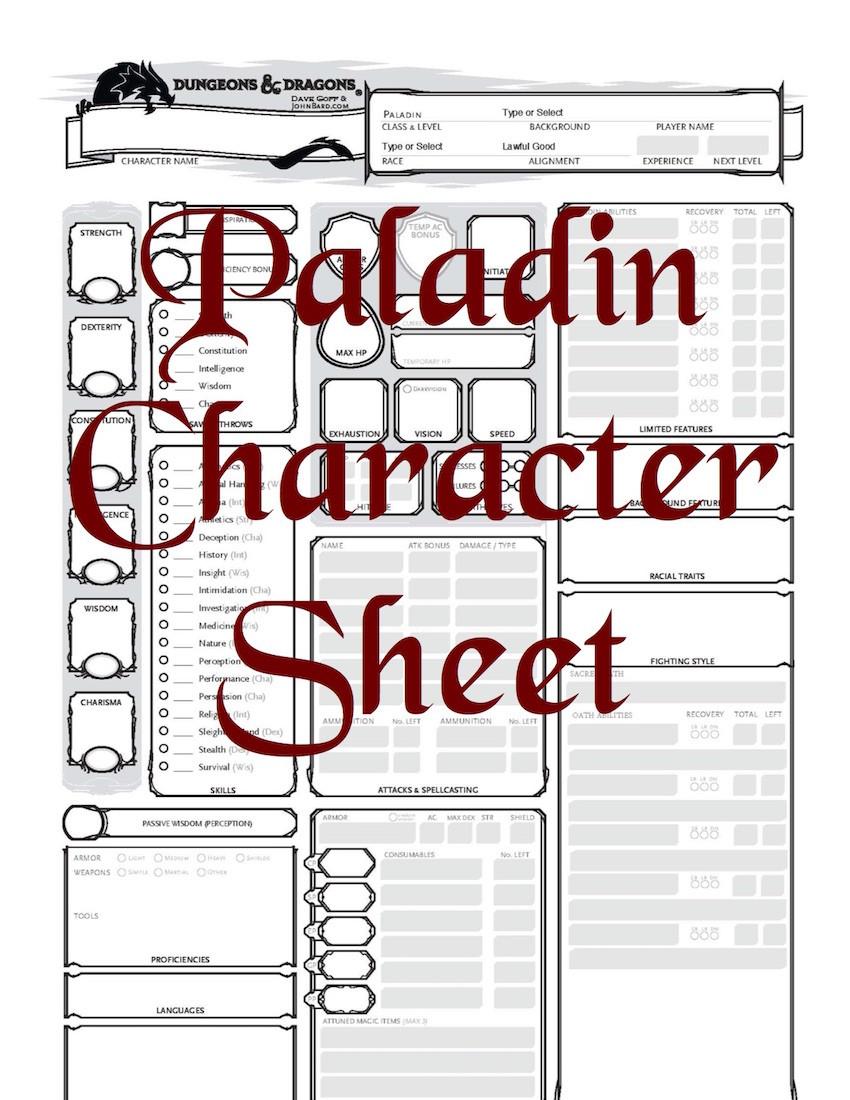 5 th edition character sheets pdf