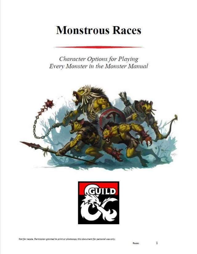 All of the Monster Manual monsters as D&D playable races