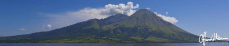 Panorama of Sangeang Api volcano in Indonesia