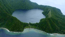 Aerial view of Satonda Island in Indonesia
