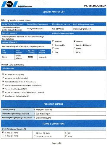 Vendor Recognition PT VSL Indonesia