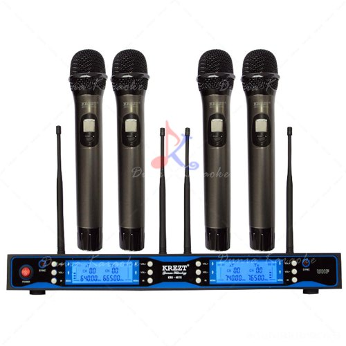 Microphone Wireless Krezt KRU 4810 Multi Channel With 4 Handheld Mics System