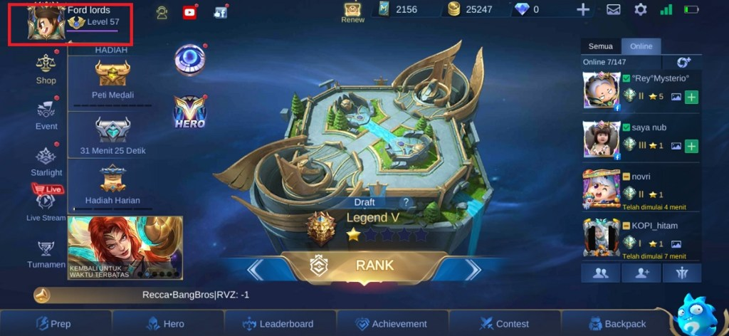 cara mengganti server original ke advance server di mobile legends