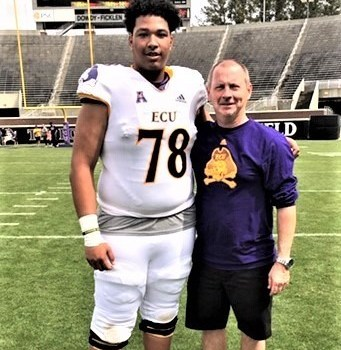 Kaizer Ray plays in East Carolina spring football game